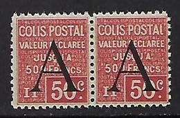 """FR Colis Postaux YT 84 Paire """" Valeur Déclarée 50c. Rouge """" 1928 Neuf** - Paketmarken"""