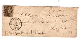 TP 14 S/LSC C.Denderleeuw 21/6/1863 + Obl.Barres(8) 173  +Boîte N ? V.Ixelles C.d'arrivée BXL Verso état Moyen - Postmark Collection