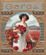 """07674 """"GERDA - FIGURA FEMMINILE - PAPAVERI- 1900 CIRCA - DECORO IN RILIEVO E ORO"""" ETICHETTA  ORIGINALE - Vecchi Documenti"""