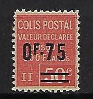 """FR Colis Postaux YT 91 """" Valeur Déclarée 0F75 Sur 50c. Rouge """" 1928 Neuf** - Paketmarken"""