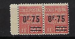 """FR Colis Postaux YT 91 Paire """" Valeur Déclarée 0F75 Sur 50c. Rouge """" 1928 Neuf** BDF - Paketmarken"""