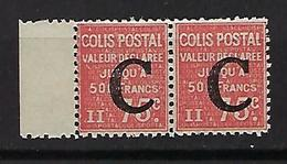 """FR Colis Postaux YT 112 Paire  """" Valeur Déclarée 75c. Rouge """" 1936 Neuf** BDF - Paketmarken"""