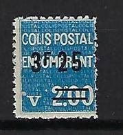 """FR Colis Postaux YT 154 """" Encombrant 3F25 S. 2F00 Bleu """" 1938 Neuf** - Paketmarken"""