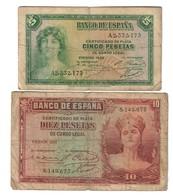 Spain Lot Set 5 & 10 Pesetas 1935 - [ 2] 1931-1936 : Republic