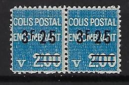 """FR Colis Postaux YT 154 Paire """" Encombrant 3F25 S. 2F00 Bleu """" 1938 Neuf** - Paketmarken"""