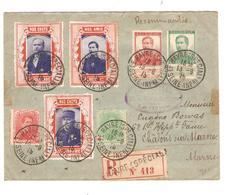 TP 118-121-129-130 + Vignettes Nos Chefs+pro Patria S/L.recommandée C.Le Havre(SP) 15/9/15 V.Châlons S/Marne - Guerre 14-18