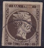 GREECE 1876 Large Hermes Head Paris Print 30 L Olive Brown Thin Paper Vl. 57 C - Gebruikt