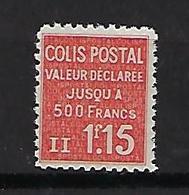 """FR Colis Postaux YT 164 """" Valeur Déclarée 1F15 Rouge """" 1939 Neuf** - Paketmarken"""