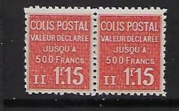 """FR Colis Postaux YT 164 Paire """" Valeur Déclarée 1F15 Rouge """" 1939 Neuf** - Paketmarken"""