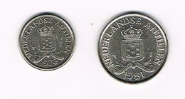 &  NEDERLANDSE ANTILLEN   10 + 25 CENTS  1976/1981 - Netherland Antilles