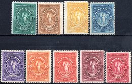 EL SALVADOR, FIGURA ALLEGORICA, VITTORIA, 1890, FRANCOBOLLI NUOVI (MLH*), SET COMPLETO YT 27-35   Scott 38-46 - El Salvador