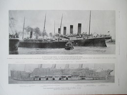 Period.1912 - TITANIC - Plan Coupe Longitudinale   - Grande PAGE Originale 38 X 28 Cm - Tools