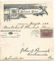 USA Franc-maçonnerie L. Avec Courrier Intérieur Bellwood Lodge IOOF 1890 - Freimaurerei