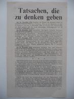 WWII WW2 Tract Flugblatt Propaganda Leaflet In German, PWE G Series/1943, G.106, Tatsachen, Die Zu Denken Geben - Non Classificati