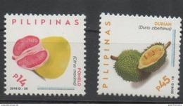 PHILIPPINES, 2016, MNH,FRUIT DEFINITIVES, POMELO, DURIAN, 2v - Fruit