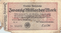 20 Milliarden Deutsche Reichsbahn Bo14  No.564626 - [ 3] 1918-1933 : Repubblica  Di Weimar