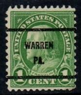 """USA Precancel Vorausentwertung Preo, Locals """"WARREN"""" (PA). - United States"""