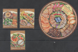 MALAYSIA, 2017, MNH, FOOD, DESSERTS, FRUIT, SEAFOOOD, FOOD FESTIVAL II, 3v+S/SHEET - Alimentazione