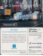 F395.2 TELECARTE PEUGEOT 905 DE JOUR 50 U PUCE GEM + 2ème Moreno DECALE - France