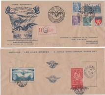 Enveloppe Ailes Brisées Paris 1947 Avec Vignettes Au Verso - Luftpost