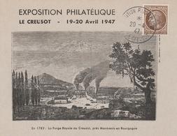OBLIT. EXPO. PHILATELIQUE LE CREUSOT AVRIL 1947 - Commemorative Postmarks