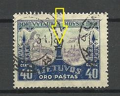 LITAUEN Lithuania 1930 Michel 311 ERROR Abart Druck Unten Verschoben O - Litauen