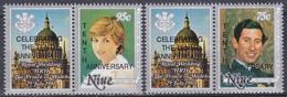 Niue 1991 Geschichte History Persönlichkeiten Herrscher Königshäuser Royals Hochzeitstag Charles Diana, Aus Mi. 774-6 ** - Niue