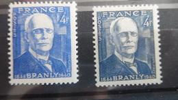 N° 599 Branly Variété Bleu Foncé - Abarten Und Kuriositäten