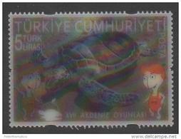 TURKEY,2013,TURTLES, SEA  TURTLE, 3-D, MEDITERRANEAN GAMES,  MNH , - Tortues