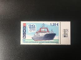 TAAF  VF 1.35 - Les 20 Ans Du Marion Dufresne Avec Vignette - Terres Australes Et Antarctiques Françaises (TAAF)