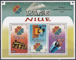 Niue 1984 Organisationen Kommunikation Weltkommunikationsjahr Satellit Telefon Phone Morsen, Bl. 73 Gest. - Niue