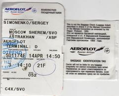 Russia 2018 Aeroflot Russian Airlines Coupon Of The Boarding Pass And Baggage Check For The Flight Moscow - Astrakhan - Europe