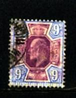 GREAT BRITAIN - 1902  EDWARD VII  9d  PURPLE & ULTRAMARINE  FINE USED  SG 251 - 1902-1951 (Re)
