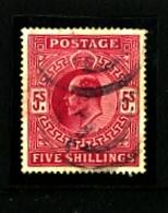 GREAT BRITAIN - 1902  EDWARD VII  5s  CARMINE  FINE USED  SG 264 - 1902-1951 (Re)