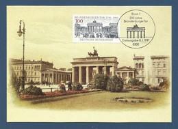 BRD 1991  Mi.Nr. 1492 , 200 Jahre Brandenburger Tor - Maximum Karte - S Bonn - Ausgabetag  08.01.1991 - [7] Federal Republic