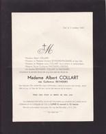 VISE Guillemine REYNDERS épouse Albert COLLART 34 Ans 1941 Famille PINCKAERS Envoyé à John BALL Château Moorsel - Décès