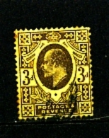 GREAT BRITAIN - 1909  EDWARD VII  3d  PURPLE-LEMON  PERF 15 X 14  FINE USED   SG 285 - 1902-1951 (Re)
