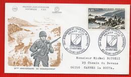 FDC 25EME ANNIVERSAIRE DU DEBARQUEMENT EN PROVENCE  SAINT RAPHAEL 23 8 1969 - Seconda Guerra Mondiale