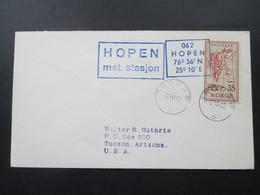 Norwegen 1962 Hopen Met. Stasjon Stempel Tromso Nach Tucson Arizona - Polarmarken