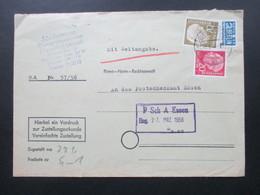 BRD 1956 Heuss I MiF Vordruck Zur Zustellungsurkunde An Das Postscheckamt Essen. Mit Zeitangabe. - BRD