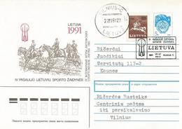 Lithuania 1991 Vilnius Horse Jumping Tournament Special Cancellation Cover - Jumping