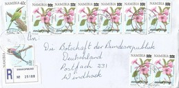 Namibia 2004 Swakopmund Flower Overprint 10c Standard Postage Michel 1092 Registered Domestic Cover - Namibia (1990- ...)