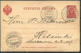 1903 Finland Stationery Postcard. Terijoki - Helsinki - 1856-1917 Russian Government