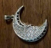 Pendente E Collana In Argento 925 Dorato Con Swarovski A Forma Di Luna - Idea Regalo - Brooches