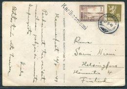 1949 Norway Finland Lyngeeldet Postcard. Karikasniemi Straight Line Cancel, Mixed Franking - Covers & Documents