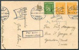 1947 Finland Postcard Pori Flugpost Luftpost - Switzerland - Covers & Documents