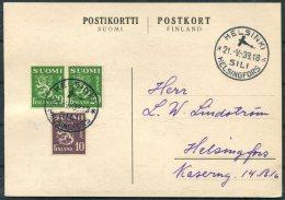 1938 Finland Helsinki / Helsingfors SILI Luftpost Airmail Postcard - Finland