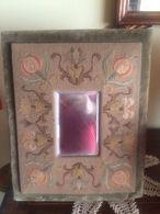 Fantastica Specchio Psiche Specchiera Ottocentesca Da Tavolo Ricoperta Di Velluto E Broccato - Glass & Crystal