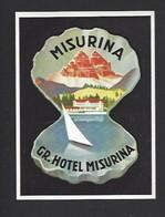 étiquette Valise  -  Hôtel Misurina  ( Lac De Misurina)  Italie - Hotel Labels