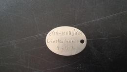 Plaque D'identité De BON-MARDION Charles, Né à Beaufort (Savoie), 140e RI, Gendarmerie - 1914-18